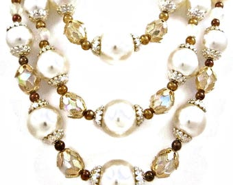 Multi Strand Necklace Pearl and Crystal Statement Chunky