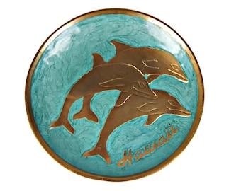 Dolphin Plate Hawaii Souvenir Brass Aqua Blue Enamel