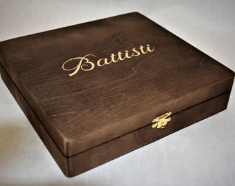2 laser engraved cigar boxes Groomsmen Gifts Walnut Stain, Personalized Custom Cigar Box - Custom Name Engraved-Wedding Favor