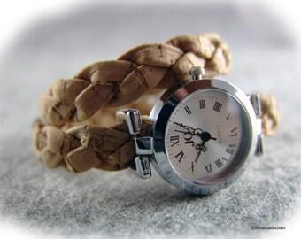 Damen Armbanduhr Armband Uhr Natur Wickeluhr Kork vegan hell braun silber - Geschenk für sie beste Freundin Ehefrau Schwester Mutter
