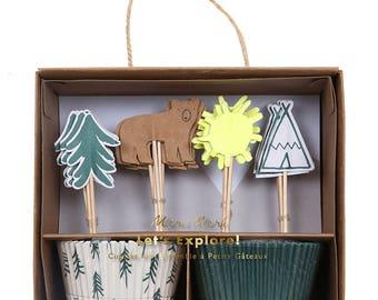 Camping Cupcake Kit (Set of 24) - Meri Meri Let's Explore Cupcake Liners and Toppers | Baking Kit