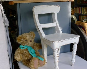 Painted wood doll chair - lightly distressed