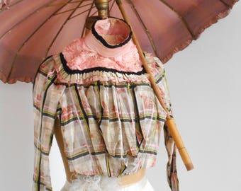 Gorgeous Late 1800's Victorian/Belle Epoque/Brocante - Pink, Green, Black Silk Bodice