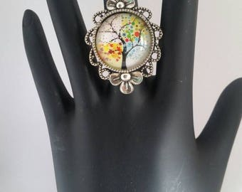 Tree of Life Statement Ring, Adjustable Ring, Tree of Life,  Spring Jewelry