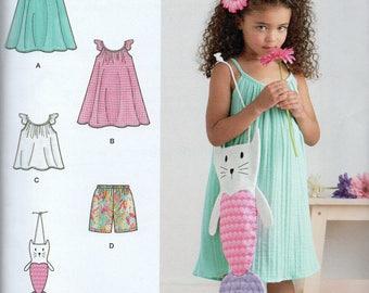 SUMMER CLOTHES Simplicity Pattern 8564 DRESS/Top/Shorts/Bag Girls' 3 4 5 6 7 8