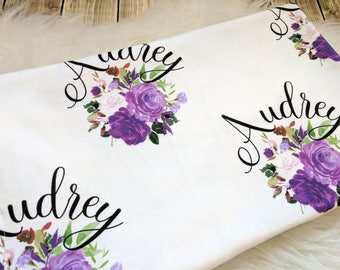 Personalized purple floral baby name swaddle blanke for newborn or hospital pictures: baby personalized name newborn hospital gift baby