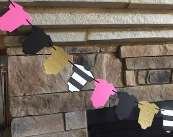 Kate Spade Baby Shower Decor, Hot Pink and Gold Baby Garland, Hot Pink and Black Garland, Kate Spade Inspired Baby Shower, Kate Baby Shower