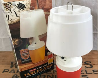 Vintage Retro Mid Century Modern Mid Mod MCM Orange Rayovac Portable Camping Lamp in Original Box