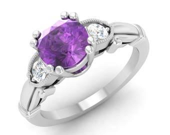 Amethyst Ring, 14K White Gold, Amethyst Engagement Ring, Vintage Ring Gold, Anniversary Ring, Wedding Ring, Three Stone Ring, Art Deco Ring
