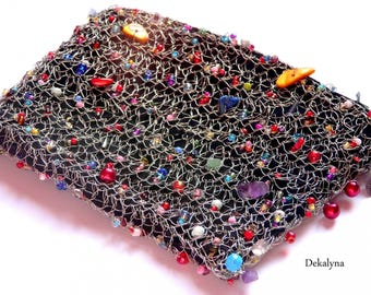 Hand crocheted multicolor bag