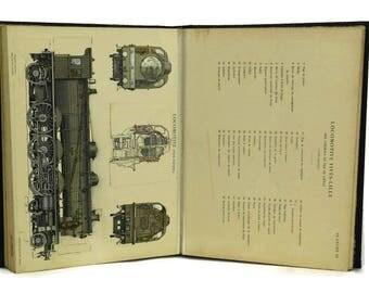 Antique Industrial Design and Mechanical Plan Book With Fold Out Art Illustrations. Encyclopedie Pratique de Mecanique et d'Electricite.