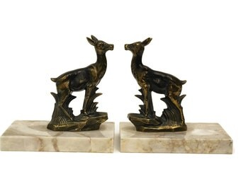 Art Deco Bookends with Deer Figurines. Vintage French Desk and Office Decor. Figural Animal Statue Book Ends. Book Lover Gifts.