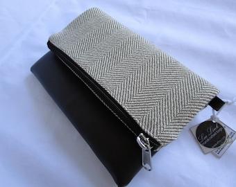 Foldover clutch/crossbody purse, Tweed and vegan leather clutch, Herrinbone clutch and crossbody purse, Elegant contamporary bag