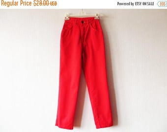 CIJ SALE Vintage 80s Bright Red Pants High Waist Pants Jeans Style Pants Scarlet Red Trousers Cotton Trousers Small Size Pants
