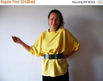 ON SALE Mustard Yellow Blouse Kimono Sleeve Top Oversized Blouse Silky Soft Shirt Yellow Summer Blouse Yellow Tunic