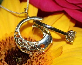 Sterling silver ring keeper - PENDANT ONLY