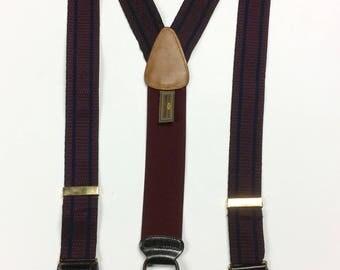 "Vintage Trafalgar Suspenders Burgundy Navy Blue Stripes Brown Button On Suspenders 1.5"" wide Trafalgar LTD."