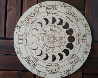 Year wheel, wheel of the year, pagan wheel, year, season celebrations, pentacle