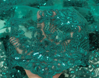 Hunter Green  51'' Adrianna Embroidered Flower with Sequins Scalloped Edge Lace Fabric by the Yard- Style 5003