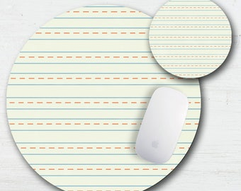 School Paper Mouse Pad - Lined Paper - Teacher Gift - Back To School -  Matching Set - Mouse Pad And Coaster - Ruled Paper - Notebook Paper