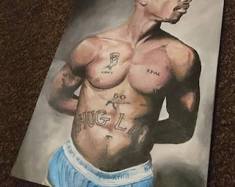 Tupac Shakur art - 10'' x 14'' print of original handpainted acrylic painting