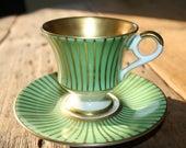 Mocha coffee cup - Bavaria - Alka - jade green and gold