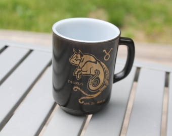 Zodiac Taurus Fire King Vintage Milk Glass Mug Black and Gold Anchor Hocking Fire King