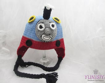Crochet baby hat Baby boy hat Crochet hat Thomas The Train Crocheted Hat Crochet Kids Thomas Hat Baby Newborn Toddler Adult
