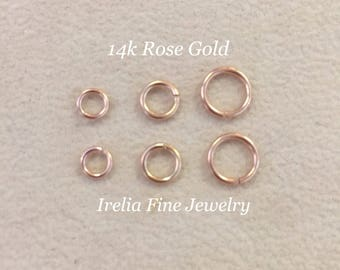 14k Rose Gold Jump Rings,  Multiple Size Options , Listing is for Qty One