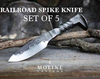 Full Twist Railroad Spike Knife, Set of 5