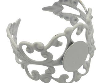 1 x white filigree Adjustable ring finding