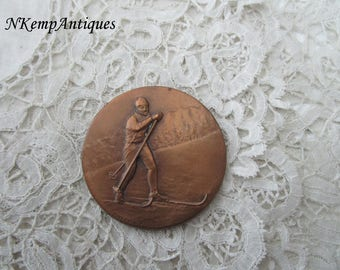 cross country ski medal/plaque signed langlauf