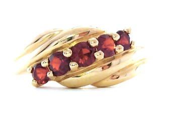 Vintage Garnets Gold Ring, January Birthstone, 14K Gemstones, Fine Jewelry, Size 7, Almandine