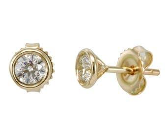 Diamond Bezel Stud Earrings in 14K Yellow Gold, Heart Earrings, Ladies Fine Jewelry