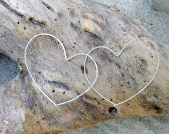 Sterling Silver Hoop Earrings, Heart Earrings, Hammered Hoops, Hoop Earrings, Silver Earrings, silver hoops, silver heart earrings