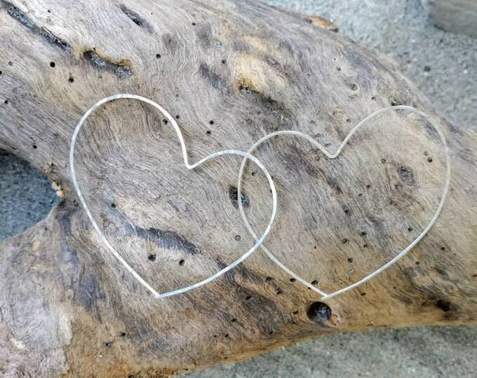 Heart Hoop Earrings, Silver or Gold Filled, Heart Earrings, Hammered Hoops, Hoop Earrings, Silver Earrings, silver hoops, Gold Hoops