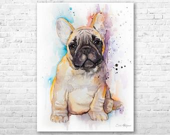 Frenchie French Bulldog watercolor painting print by Slaveika Aladjova, art, animal, illustration, home decor, gift, Contemporary, dog art