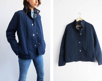 Quilted Navy Jacket // Medium Navy Blue Quilted Jacket // Women's Vintage Clothing