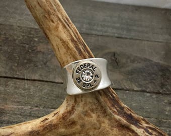 Womens Sterling Silver bullet ring