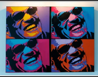 Ray charles. Stencil on Canvas 3D 80 x 60 cm
