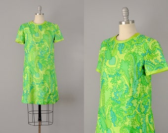60s Dress // 1960's Green Paisley Silk Mini Dress // Medium