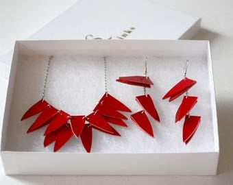 Geometric jewelry set, Leather statement jewelry, Gift for girlfriend, bohemian jewelry, Gypsy, Boho jewelry, Daughter jewelry set, for her