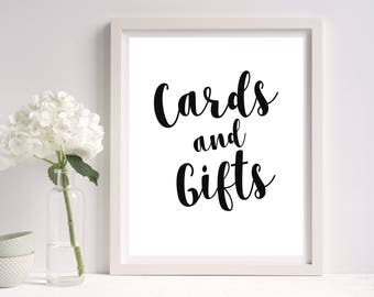 Cards & Gifts Sign Printable, 8x10 sign, Cards and Gifts Template. DIY Printable Wedding Sign, Black and White. Instant Download