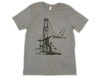 Mens T shirt Galloping Gertie Bridge, Narrows, Tacoma Washington, Iconic scene, Puget Sound, gifts for him, dad, boyfriend, husband, pnw