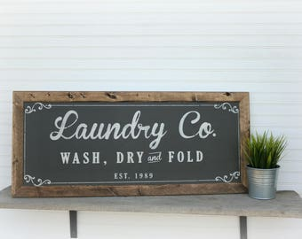 Laundry Room Decor, Laundry Room Sign, Rustic Laundry ,  Laundry Co Sign, Farmhouse Laundry Room Decor, Housewarming Gift