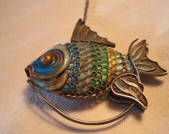 vintage Chinese enamel fish pendant