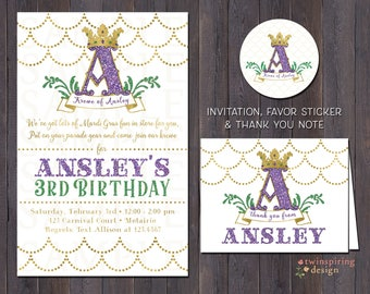 Mardi Gras Birthday Party Invitations, Thank You Notes, and/or Favor Stickers | Mardi Gras Monogram with Crown