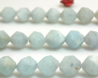 47 Pcs of Natural Aquamarine faceted and matte stars nugget beads in 8 mm  (07352#)