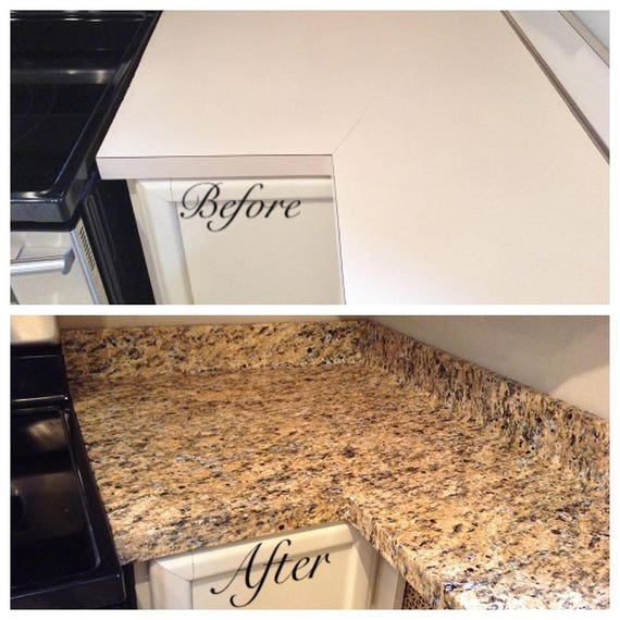 Instant Counter Top Cover : Instant counter top update gold granite bubble resistant