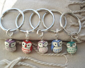 Owl Key Rings, Colorful Owl Key Rings, Wise Old Owl Key Rings, Ceramic Owl Key Rings, Fun Accessories, Gift Ideas, Ceramic Owls, Owls,